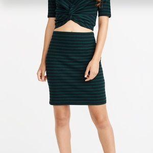 NWT A&F Knit Skirt — Green & Navy Stripes